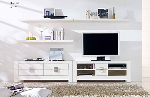 Muebles TV  MUEBLE DE TV EN CHAPA DE ROBLE NATURAL LACADO BLANCO